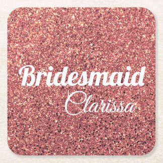 elegant modern chick rose gold glitter bridesmaid square paper coaster