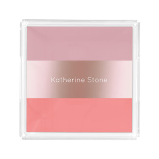 Elegant modern chick rose gold pink coral striped acrylic tray