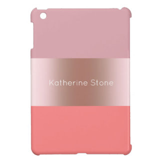 Elegant modern chick rose gold pink coral striped cover for the iPad mini