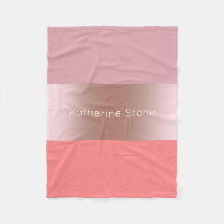 Elegant modern chick rose gold pink coral striped fleece blanket