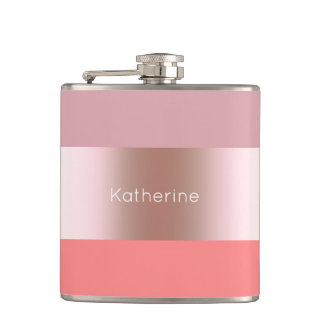 Elegant modern chick rose gold pink coral striped hip flask