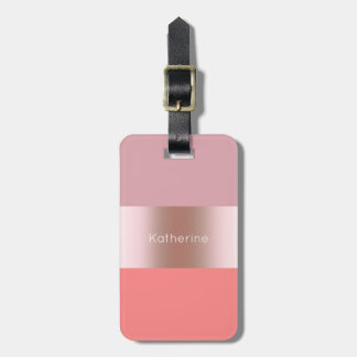 Elegant modern chick rose gold pink coral striped luggage tag