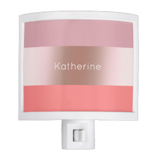 Elegant modern chick rose gold pink coral striped night light