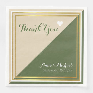 elegant & modern classic green beige wedding paper napkins