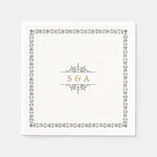 Elegant modern classic vintage wedding monogram disposable napkin