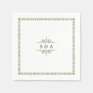 Elegant modern classic vintage wedding monogram paper napkin