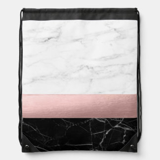 elegant modern clear black white marble rose gold drawstring bag