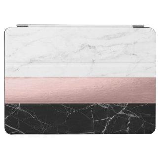 elegant modern clear black white marble rose gold iPad air cover