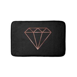 elegant modern clear faux rose gold diamond black bath mat