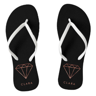 elegant modern clear faux rose gold diamond black flip flops