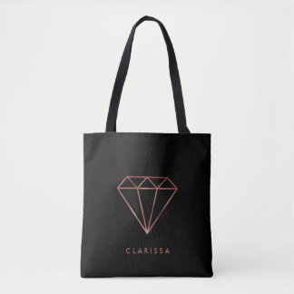 elegant modern clear faux rose gold diamond black tote bag