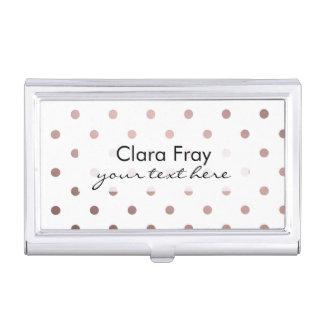 elegant modern clear faux rose gold polka dots business card holder