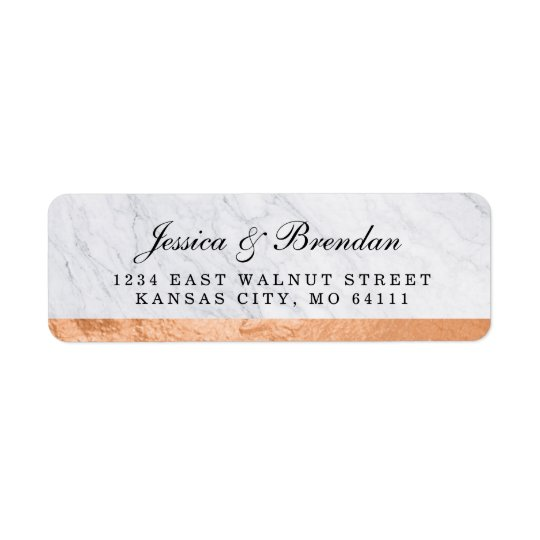 Elegant Modern Copper Wedding Return Address Label