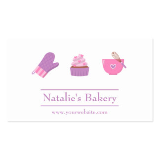Elegant Modern Cupcake Bakery Cafe Pink Purple Pack Of Standard Business Cards