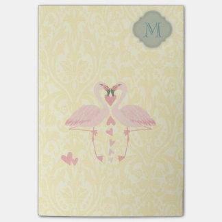 Elegant modern cute flamingos damask  monogram post-it notes