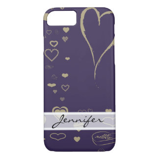 Elegant Modern Dark Purple Heart iPhone 8/7 Case