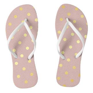 elegant modern faux gold polka dots pattern flip flops
