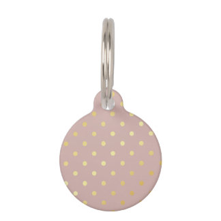 elegant modern faux gold polka dots pattern pet tag