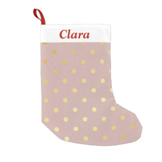 elegant modern faux gold polka dots pattern small christmas stocking