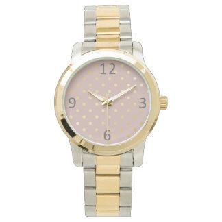 elegant modern faux gold polka dots pattern watch