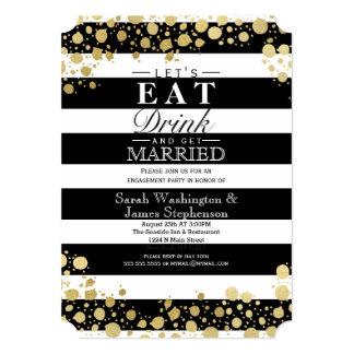 "Elegant Modern Faux Gold Splatters and Stripes 5"" X 7"" Invitation Card"
