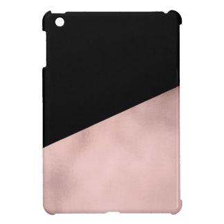 elegant modern faux rose gold black geometric case for the iPad mini