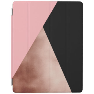 elegant modern faux rose gold foil pink geometric iPad cover