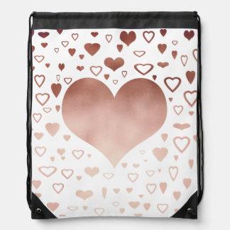 elegant modern faux rose gold hearts pattern drawstring bag