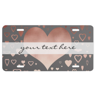 elegant modern faux rose gold hearts pattern license plate