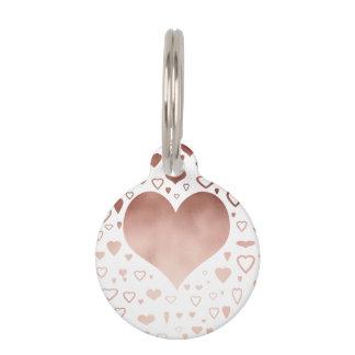 elegant modern faux rose gold hearts pattern pet ID tag