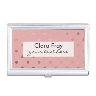 elegant modern faux rose gold polka dots pattern business card holder