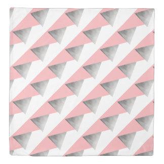 elegant modern faux silver blush pink geometric duvet cover