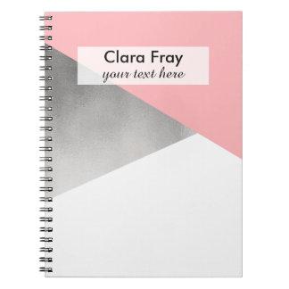 elegant modern faux silver blush pink geometric notebook