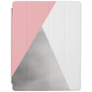 elegant modern faux silver foil pink geometric iPad cover