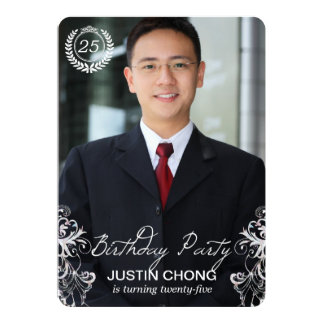 Elegant Modern Fern Photo Birthday Invitations
