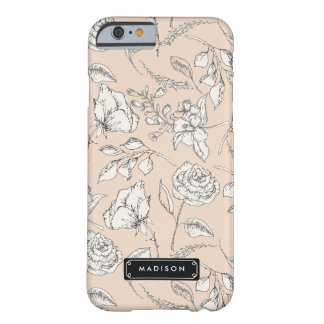 Elegant Modern Floral Pattern Personalized Barely There iPhone 6 Case