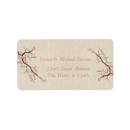 Elegant modern gentle wedding cherry tree linen