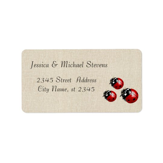 Elegant modern gentle wedding ladybugs label