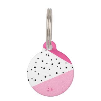 Elegant modern geometric pink leather black dots pet ID tag