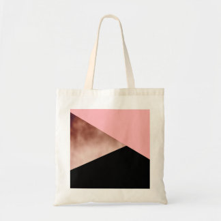 elegant modern geometric rose gold pink black tote bag