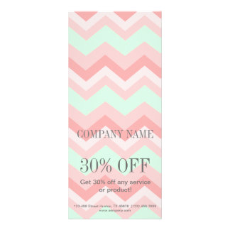 elegant modern girly fashion mint coral chevron rack card