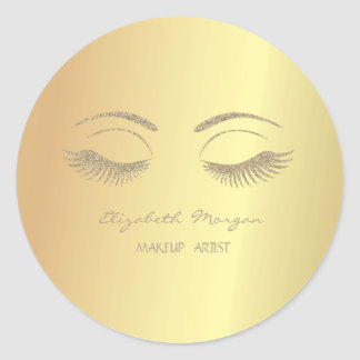 Elegant Modern  Girly,Faux Gold,Faux Lashes Classic Round Sticker