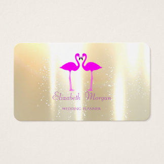 Elegant Modern Girly Funny,Pink Flamingos In Love Business Card