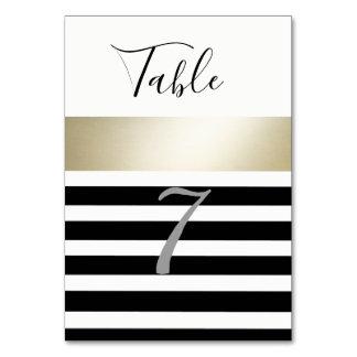 Elegant modern gold black/white stripes wedding card