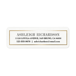 Elegant Modern Gold Border Return Address Label