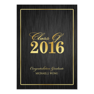 Elegant Modern Gold Class of 2016 Graduation Card