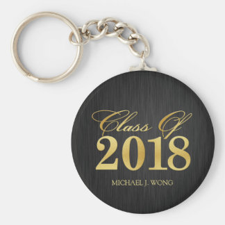 Elegant Modern Gold Class of 2018 Graduation Keychain
