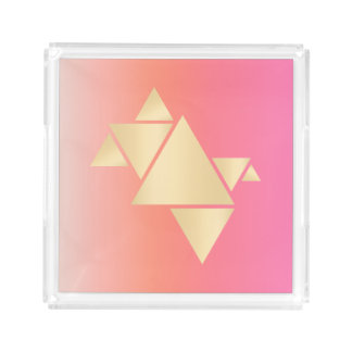 Elegant Modern Gold Geometric Pink Orange Gradient Acrylic Tray