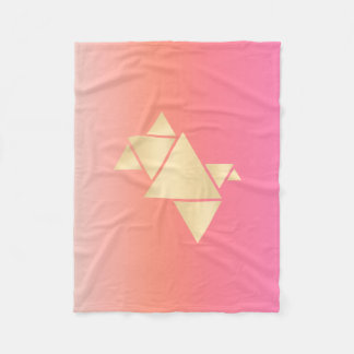 Elegant Modern Gold Geometric Pink Orange Gradient Fleece Blanket