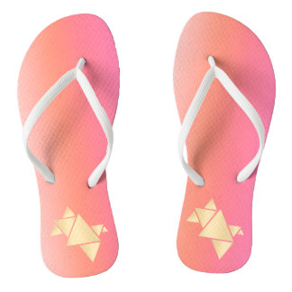 Elegant Modern Gold Geometric Pink Orange Gradient Flip Flops